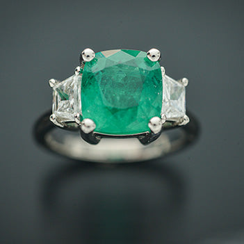 Cushion Emerald and Diamond Platinum Ring