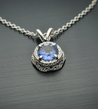 White Gold Blue Sapphire and Diamond Floating Pendant