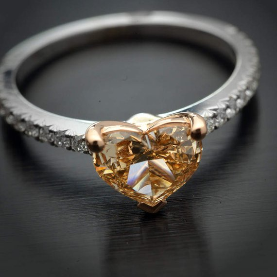 18 Karat Two-Tone Engagement Ring with GIA Certified Natural Fancy Brown-Yellow Heart Shape and Fine White Diamond Accents in the Band