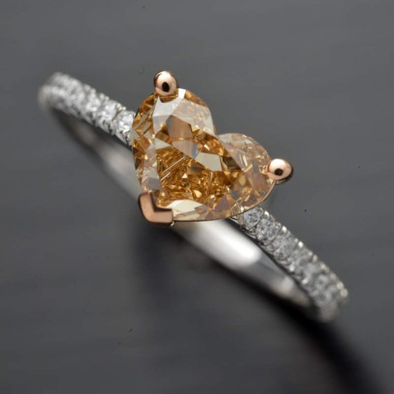 18 Karat Two-Tone Engagement Ring with GIA Certified Natural Fancy Brown-Yellow Heart Shape and Fine White Diamond Accents in the Band - FlawlessCarat