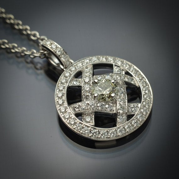 18K White Gold Floating Pendant with Rare Natural Greenish-Blue Diamond Center & Fine White Diamond Accents - FlawlessCarat