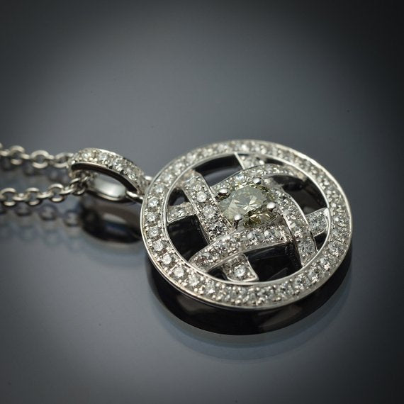 18K White Gold Floating Pendant with Rare Natural Greenish-Blue Diamond Center & Fine White Diamond Accents