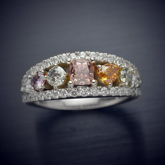 Diamond Statement Ring - Sparkling with Rare Natural Fancy Colored Diamonds and White Diamond Accents - FlawlessCarat