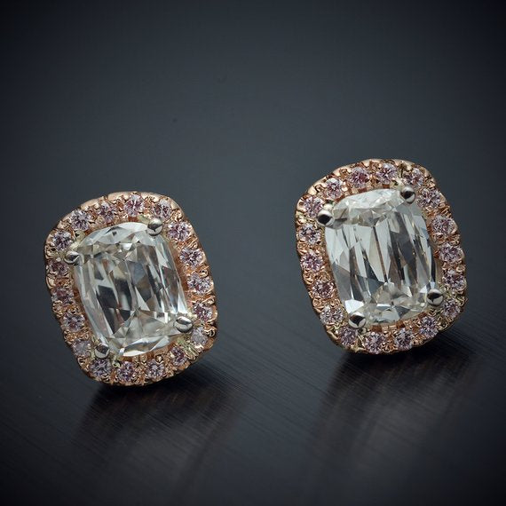 18 Karat Pink Gold Halo Earrings .93 Carats Cushion Brilliant Diamonds .14 Carats Pink Round Diamonds - FlawlessCarat