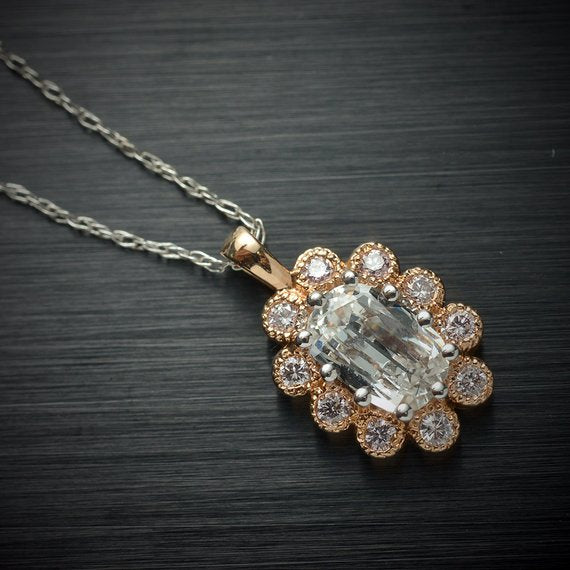 Cushion Cut Diamond Halo Pendant in 18 Karat Rose Gold with Light Pink Round Diamond Accents - Flower Shaped Pendant