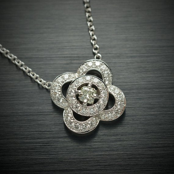 Rare Princess Cut Diamond Pendant with Light Green Center Diamond and Round White Diamond Accents - Flower Shaped Pendant