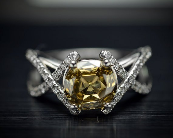 Platinum Engagement Ring or Fashion Ring with Rare GIA Natural Brownish Yellow Center Diamond and White Diamond Accents