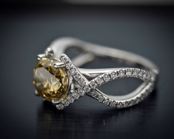 Platinum Engagement Ring or Fashion Ring with Rare GIA Natural Brownish Yellow Center Diamond and White Diamond Accents - FlawlessCarat