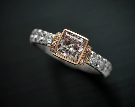 Platinum / 18 Karat Rose Gold Engagement Ring with Natural Pink Brownish Princess Cut Diamond and Round White & Pink Diamond Accents