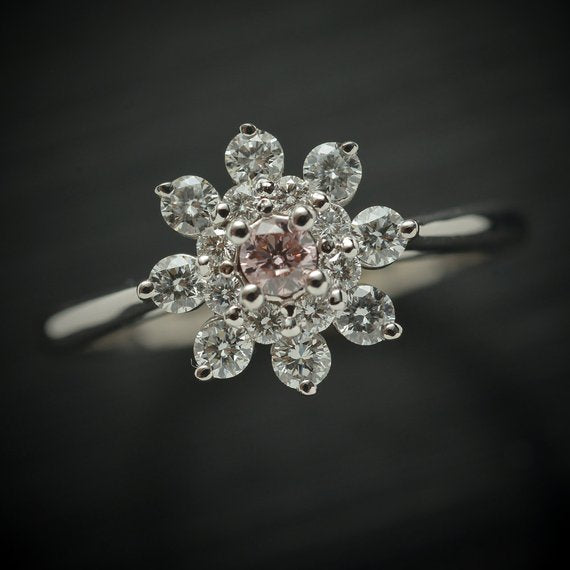 GIA Pink Diamond Flower Ring with Fancy Pink Center Diamond & White Diamond Accents