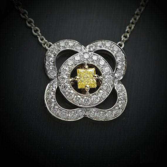 Natural Fancy Yellow Diamond Halo Pendant with .10 Carat Princess Center Diamond & .30 Carats of Round White Diamond Accents, Flower Shaped Pendant - FlawlessCarat