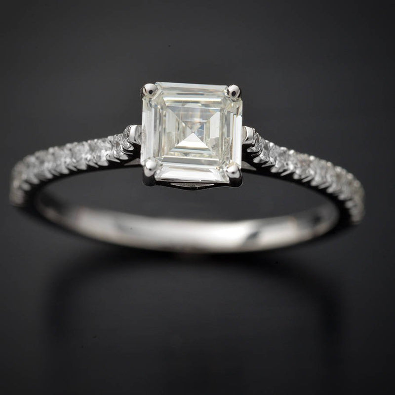 Emerald Cut GIA Certified Engagement Ring with Round Diamonds in 18kt White Gold - FlawlessCarat