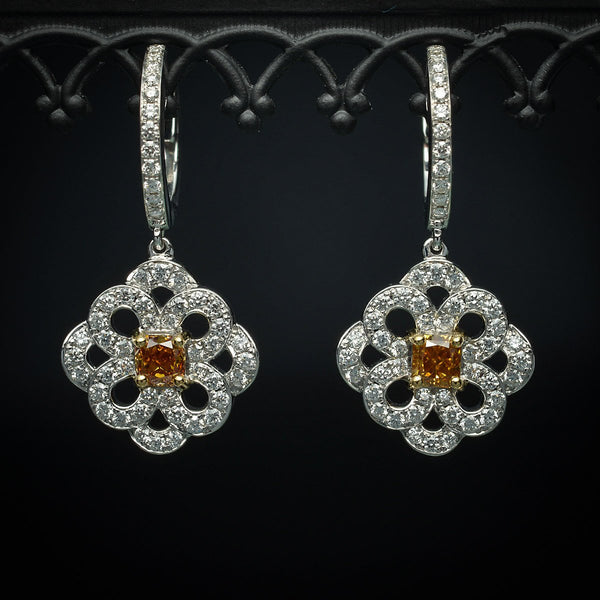 One-of-a-Kind 18K White Gold Drop Earrings with Orange-Cognac Natural Cushion-Cut Diamonds - FlawlessCarat