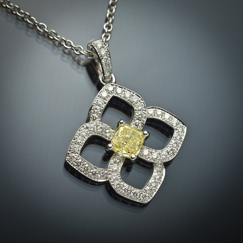 GIA Yellow Cushion Cut Diamond  Pendant in 18K White Gold - FlawlessCarat