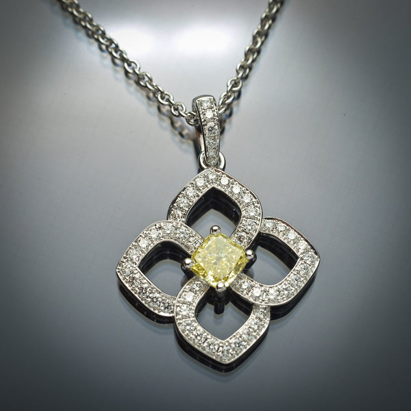 GIA Yellow Cushion Cut Diamond  Pendant in 18K White Gold