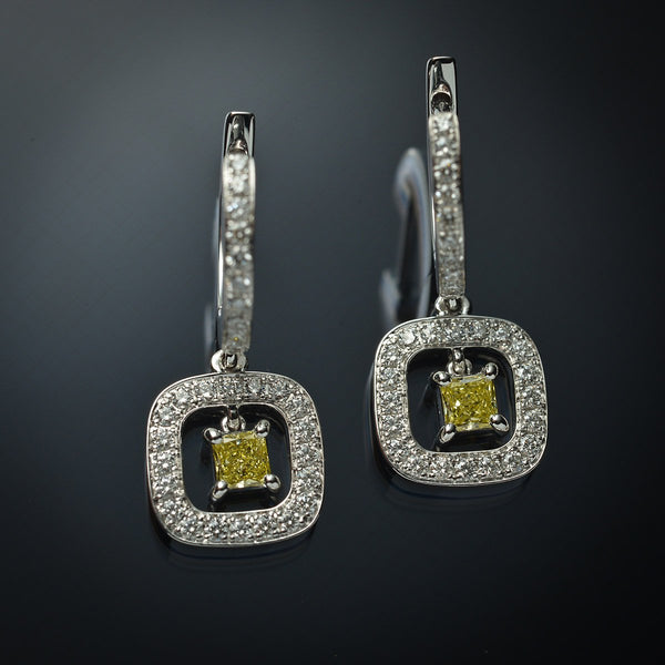 Fancy Yellow Diamond Halo Earrings in 18K White Gold