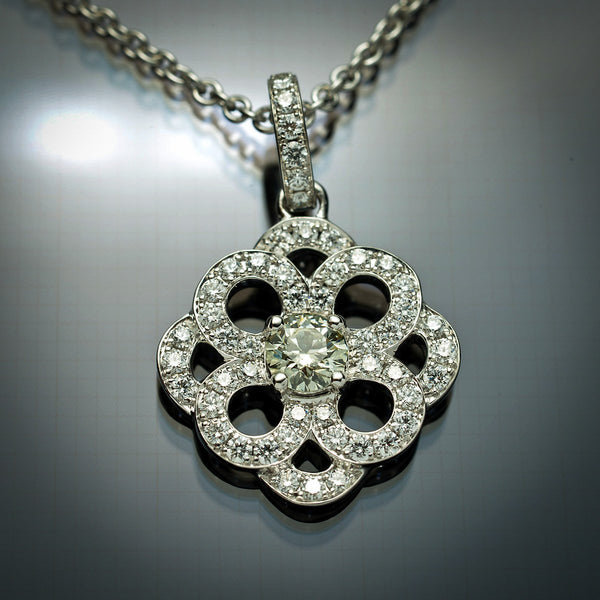 18K White Gold Pendant with .27 carat Grey-Green Center Diamond & White Diamond Accents