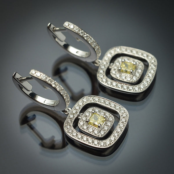 Double Halo Earrings with Rare Natural Fancy Yellow Princess-Cut Center Diamond & White Diamond Accents in 18K White Gold - FlawlessCarat