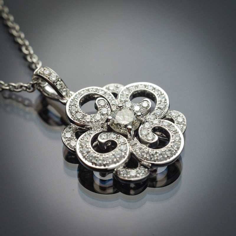 18K White Gold Pendant with Grey-Green Natural Center Diamond & White Diamond Accents - FlawlessCarat
