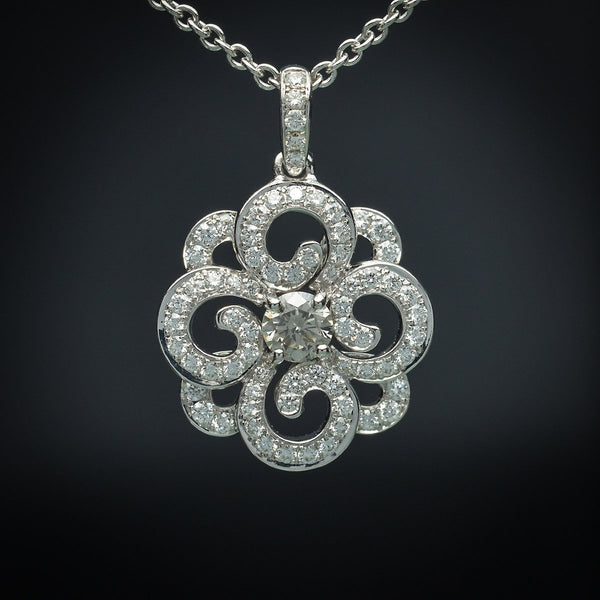 18K White Gold Pendant with Grey-Green Natural Center Diamond & White Diamond Accents