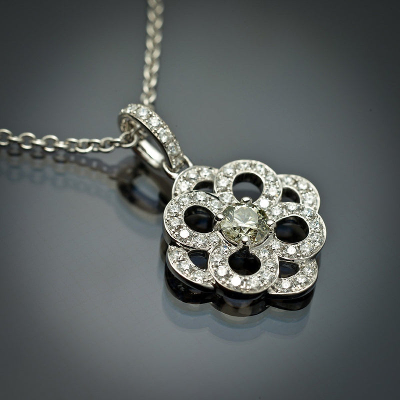 18K White Gold Pendant with .27 carat Grey-Green Center Diamond & White Diamond Accents - FlawlessCarat