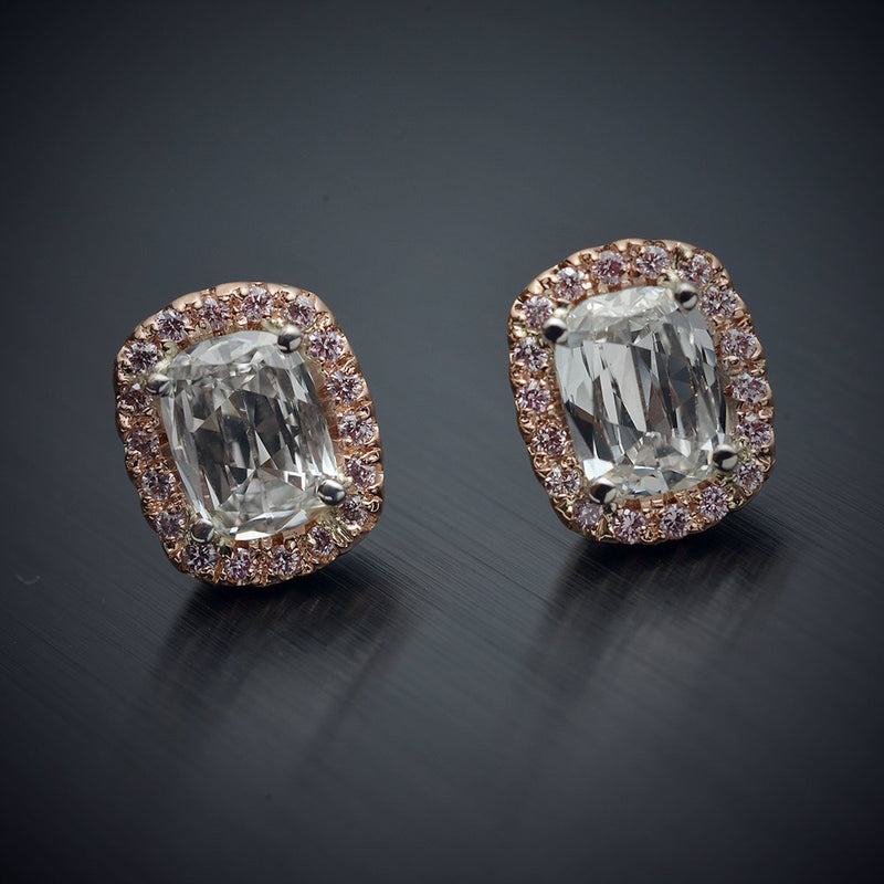 18 Karat Pink Gold Halo Earrings with .75 Carats of Cushion Brilliant Diamonds and .13 Carats of Pink Round Diamonds