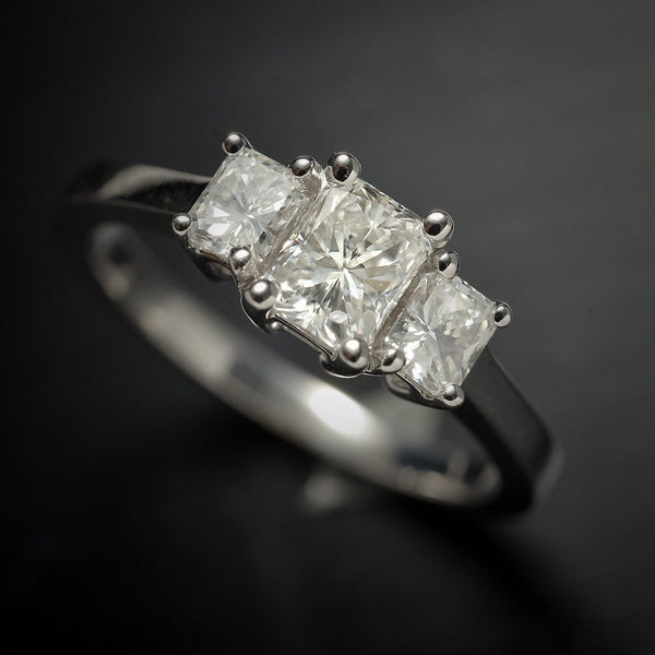 Three Stone Radiant Diamond Engagement Ring in 18 Karat White Gold, 1 Carat Total Weight