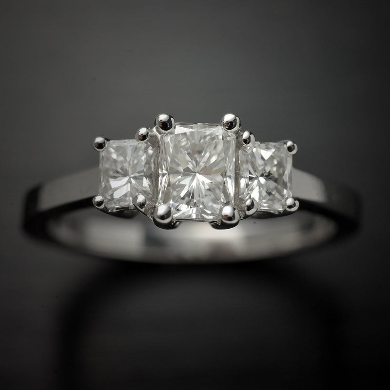 Three Stone Radiant Diamond Engagement Ring in 18 Karat White Gold, 1 Carat Total Weight - FlawlessCarat