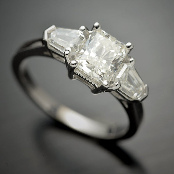 Three Stone Radiant & Shield Cut Diamond Engagement Ring - FlawlessCarat