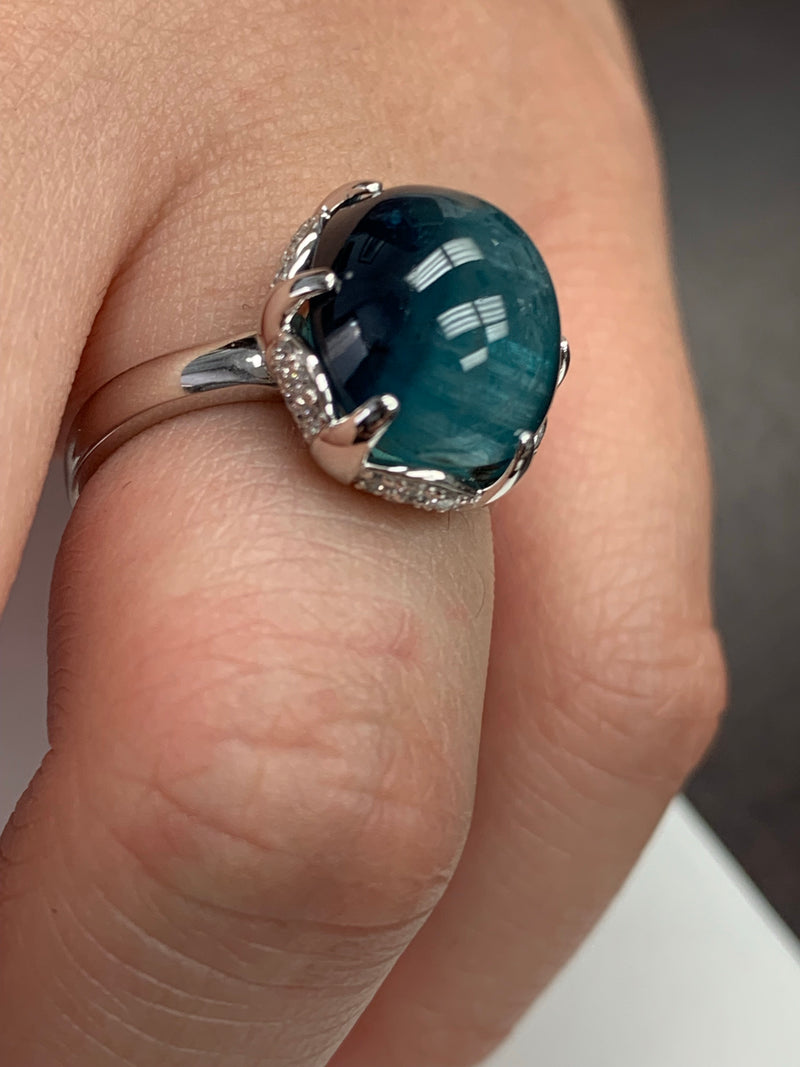 Blue Tourmaline Set in 18 karat White Gold and Diamond Pave Ring