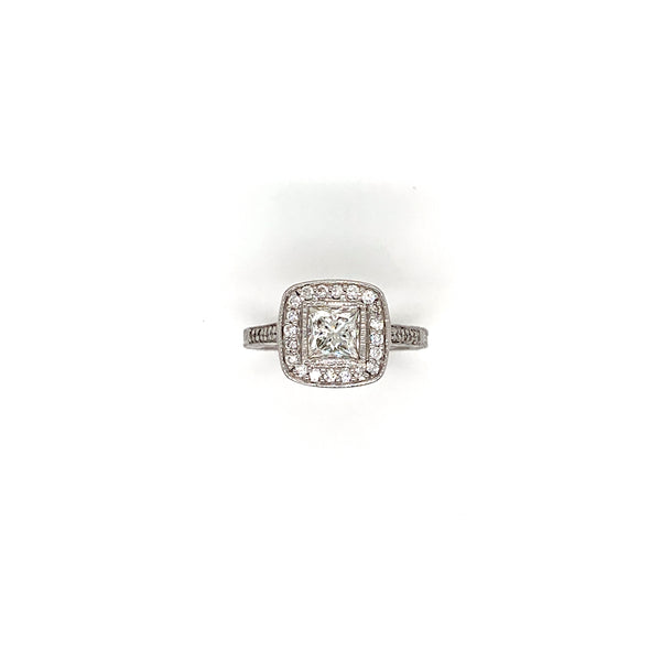 14kt. Gold Natural Diamond Princess Cut Halo Ring
