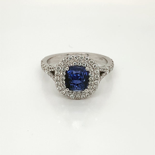 Cushion Blue Sapphire Double Halo Diamond Ring