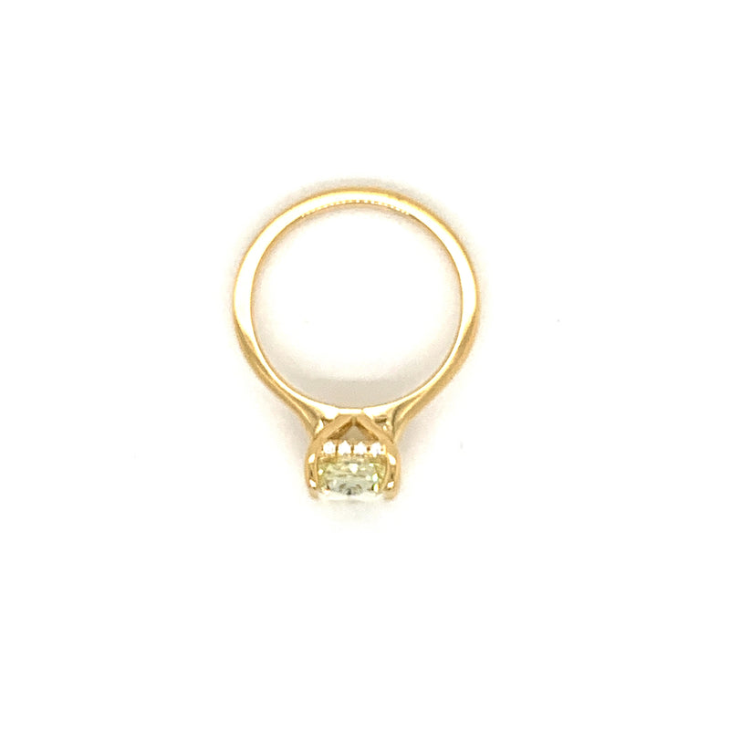 18kt.Yellow Gold Solitaire with Natural Yellow Radiant Diamond and Under Halo