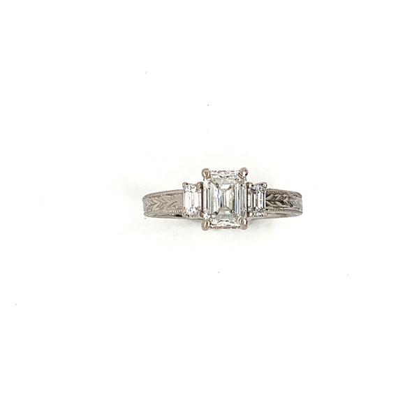 18 Kt. White Gold 3 Stone Emerald Cut Antique Reproduction Ring