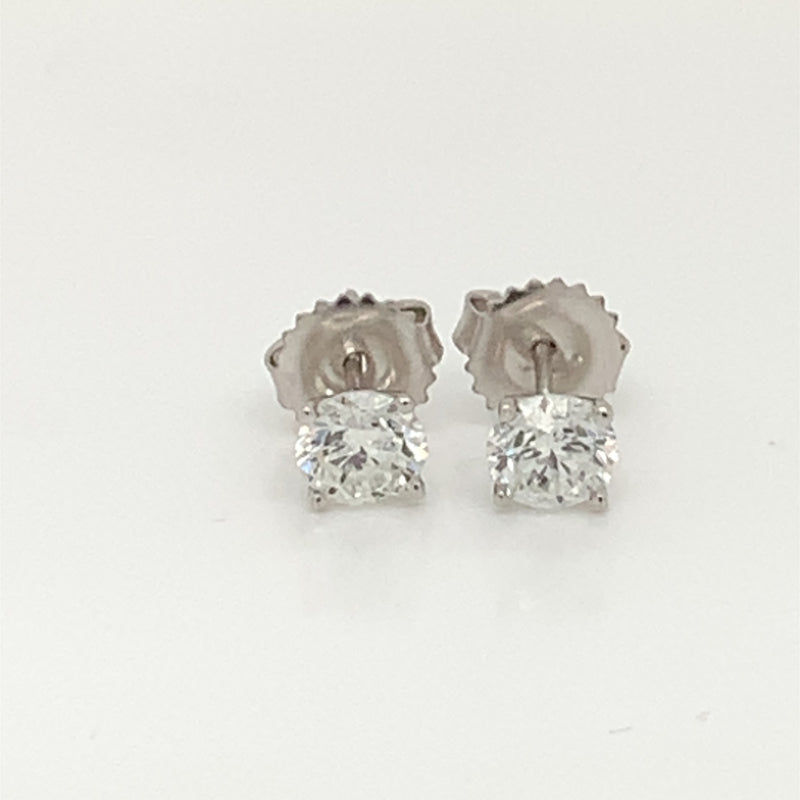 Natural Round Diamond Ear Studs in White Gold