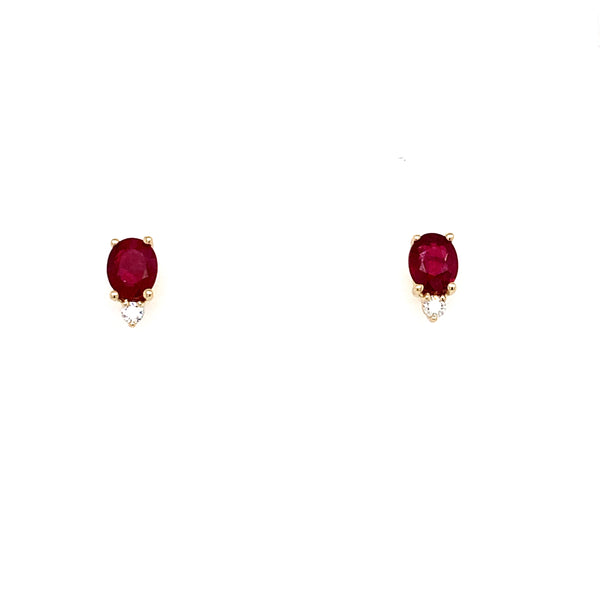 14kt. Yellow Gold Oval Ruby and Diamond Studs