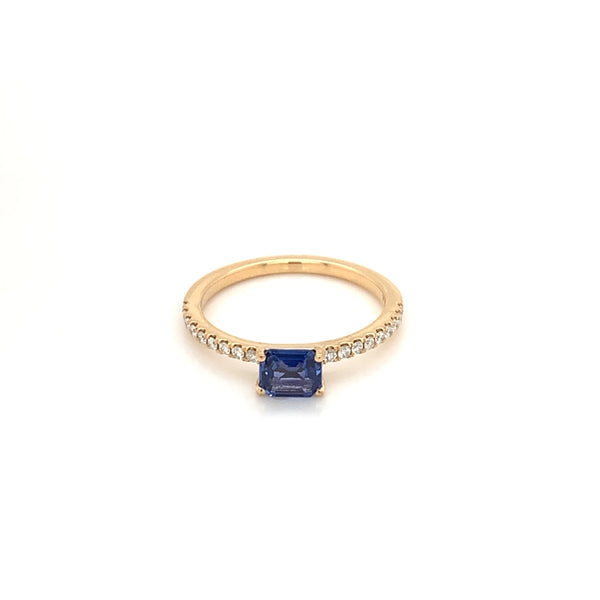 Natural Blue Sapphire and Diamond Ring