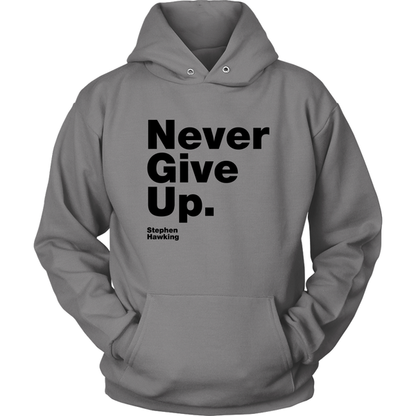 Unisex Hoodie Never Give Up S. Hawking (black print) T-shirt buy now