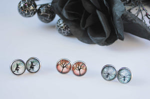 Halloween, glass stud earrings