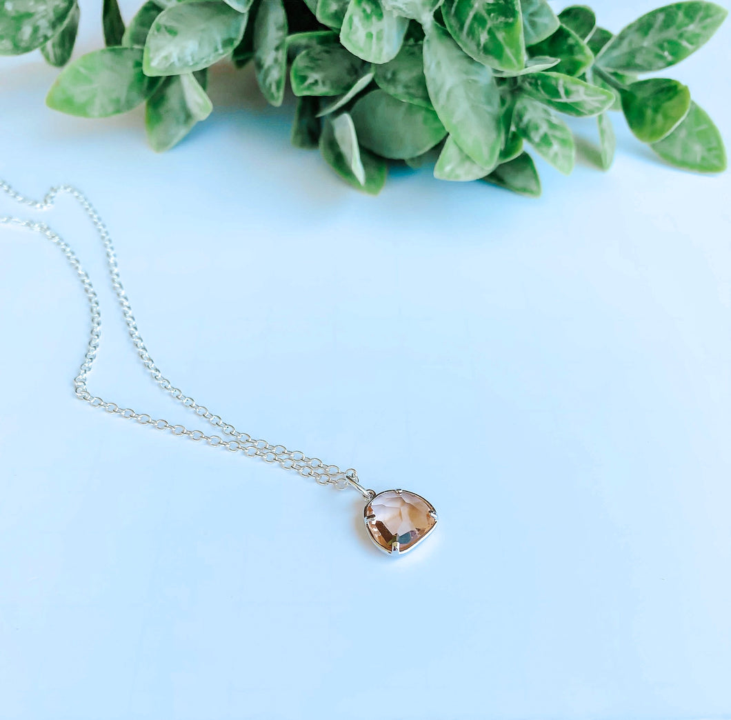 Sterling Silver, Blush Gemstone Necklace