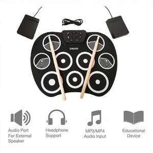 Roll Up Drum Kit 9 Pads Electronic Drum Set USB Powered with Foot Pedals  Drumsticks USB Cable for Students Kids