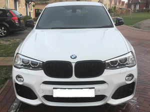 BMW F25 X3 Kidney Grilles Gloss Black New Twin Bar Design