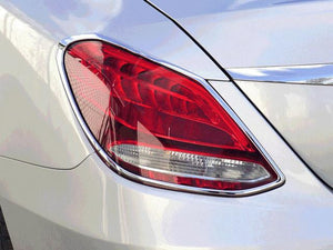 Chrome Rear Tail Lamp Surrounds W205 C Class Saloon Sedan Limo