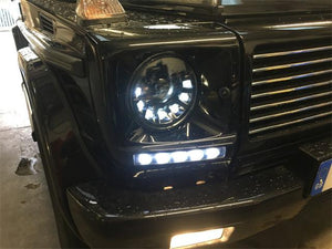 W463 G Wagen LED Headlamps in Black Left Hand Drive Vehicles 1986-2009