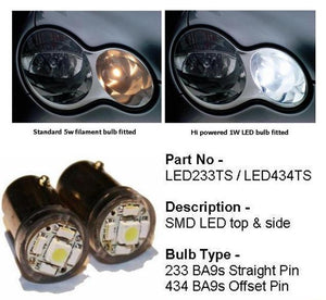 Headlamp LED Sidelamp bulbs Super White & LED Resistors Set
