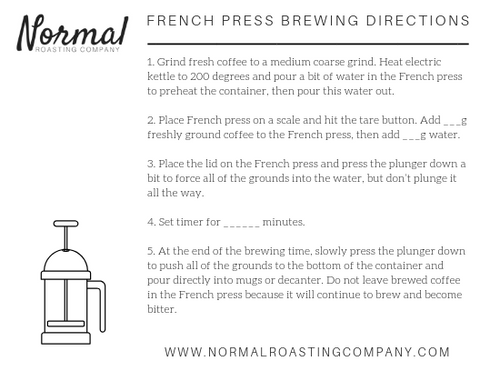 french press brewing directions with blanks