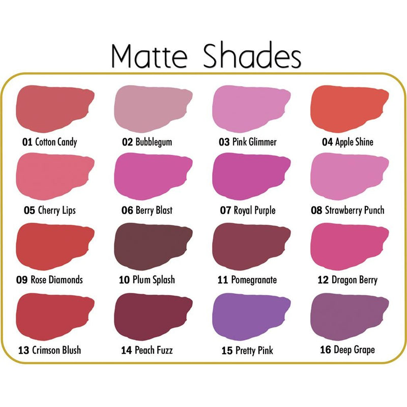 Ashley Lee ColorKiss Matte Color Chart