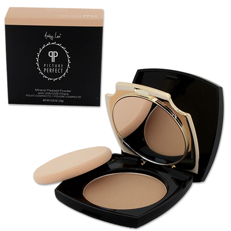 Nude Beige Mineral Pressed Powder Foundation Ashley Lee Cosmetics