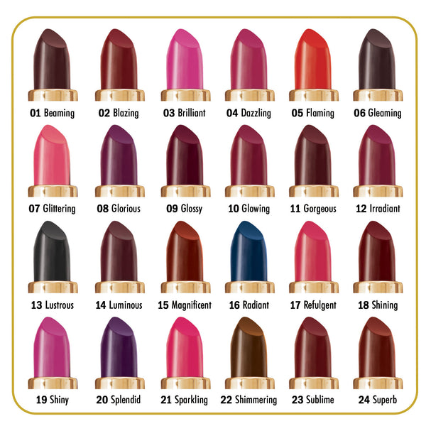 Ashley Lee Silken Lip Color Chart