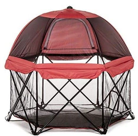 Carlson Six Panel Deluxe Pen with Canopy - Red